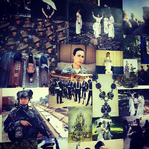 We spied a military-inspired mood board at Prabal Gurung.