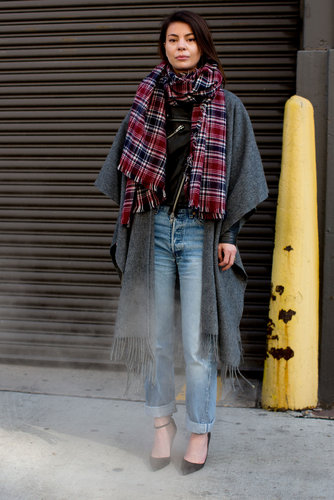 An effortless mix of plaid and denim got a statement-making finish with gorgeous outerwear.