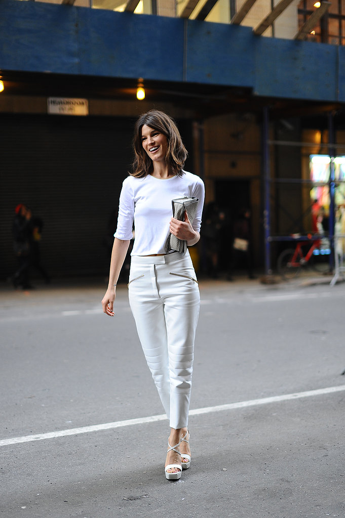 Hanneli Mustaparta worked an all-white, minimalist look on her way into Calvin Klein.
