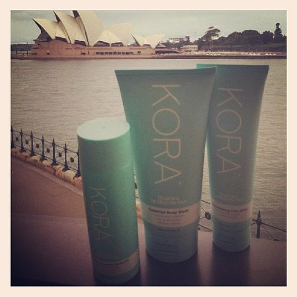 Miranda Kerr's skincare brand Kora had pride of place on the harbour on a dreary day. Source: Instagram user mirandakerrverified