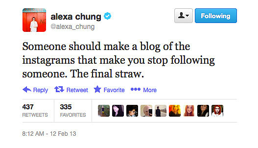 We actually love this idea of Alexa Chung's. Someone? Anyone?