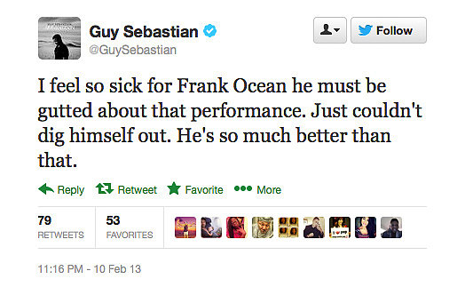 After Frank Ocean's less-than-stellar Grammy's performance, fellow singer Guy Sebastian was feeling his pain.
