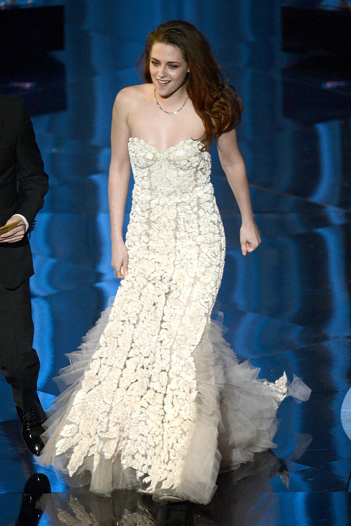 Kristen Stewart took the stage in her Reem Acra gown.