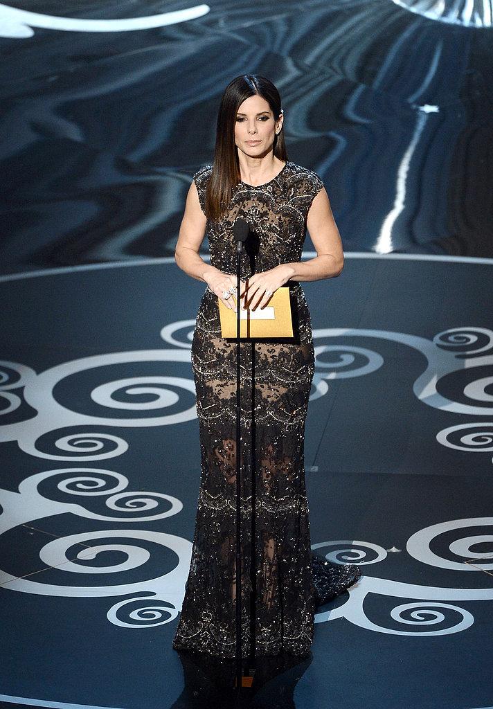 Sandra Bullock presented the award for best film editing.