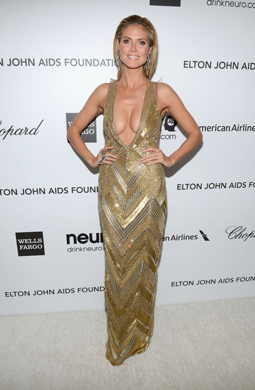 Heidi Klum Shows Skin at Elton John's Oscars Party