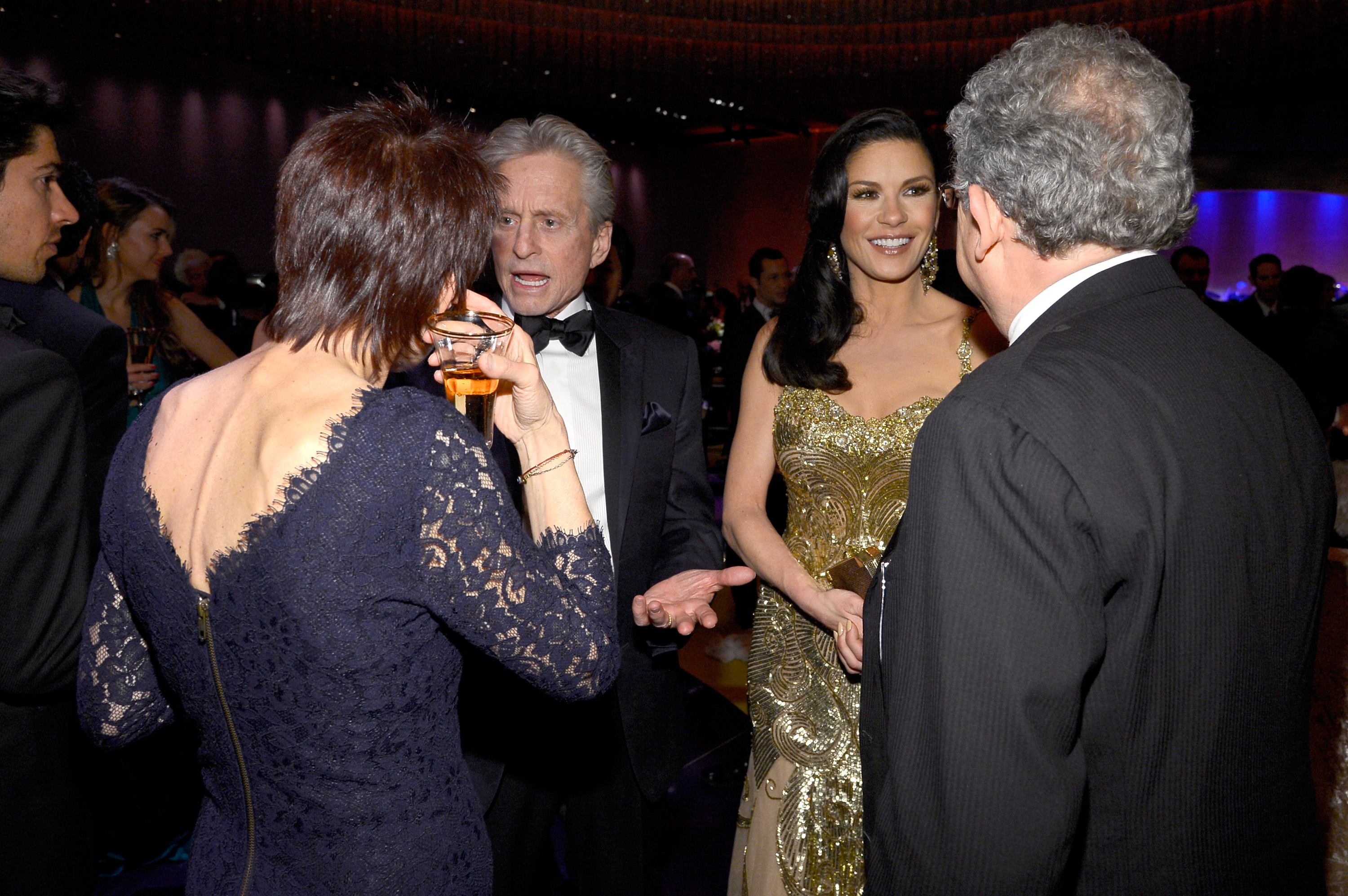 Michael Douglas and Catherine Zeta-Jones chatted with guests at the Governors B