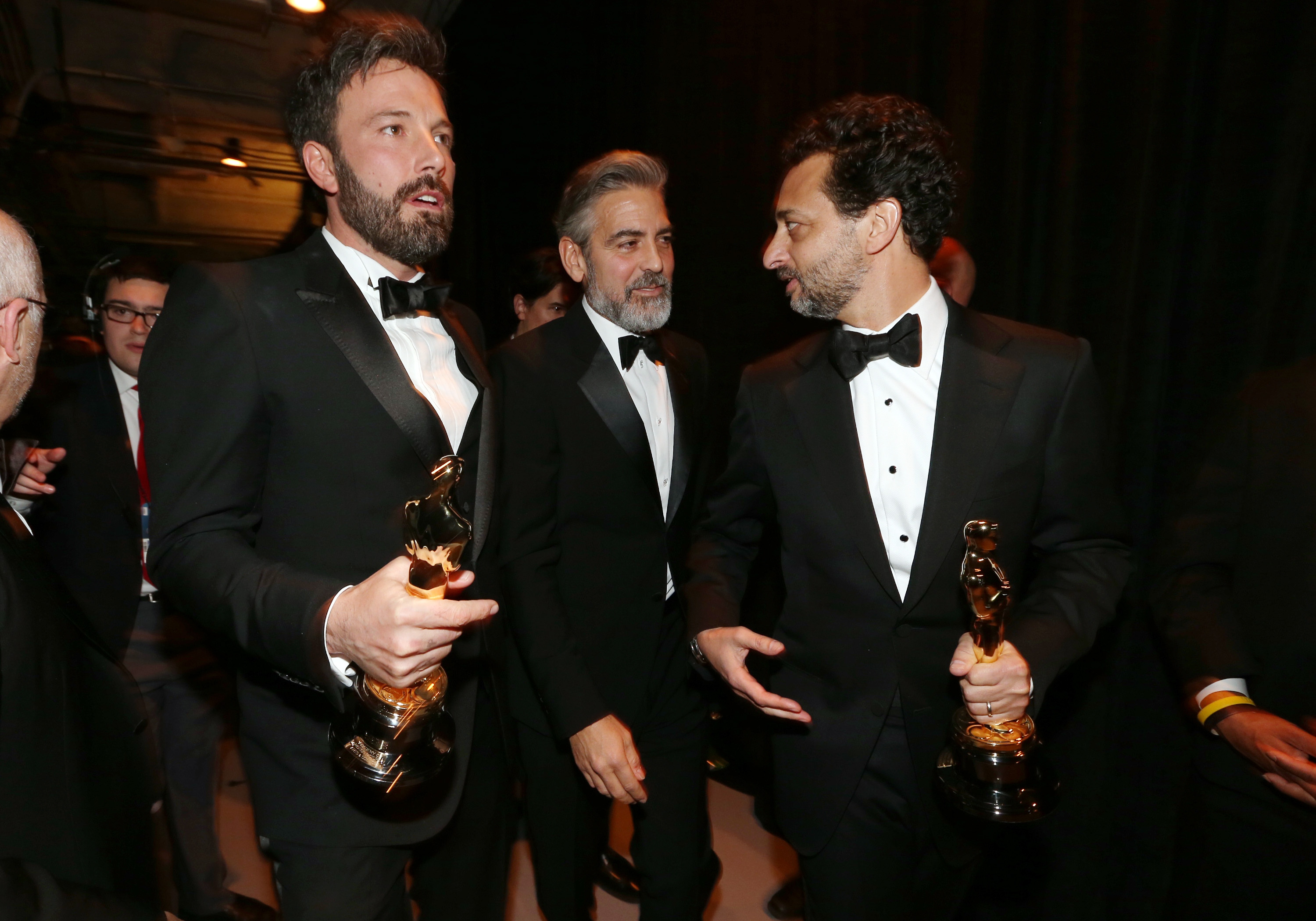 Ben Affleck, George Clooney, and Grant Heslov celebrated their Oscar win backstage.