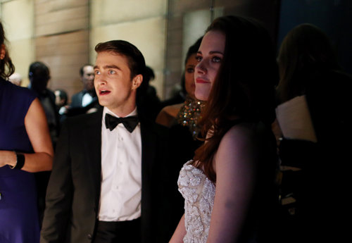 Daniel Radcliffe and Kristen Stewart waited for their turn to present backstage.