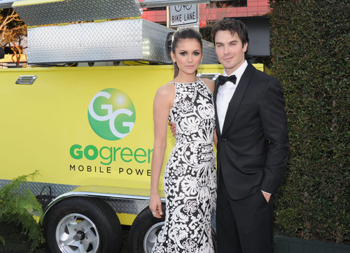 Nina Dobrev linked up with boyfriend Ian Somerhalder at Elton John's Oscar viewing party.