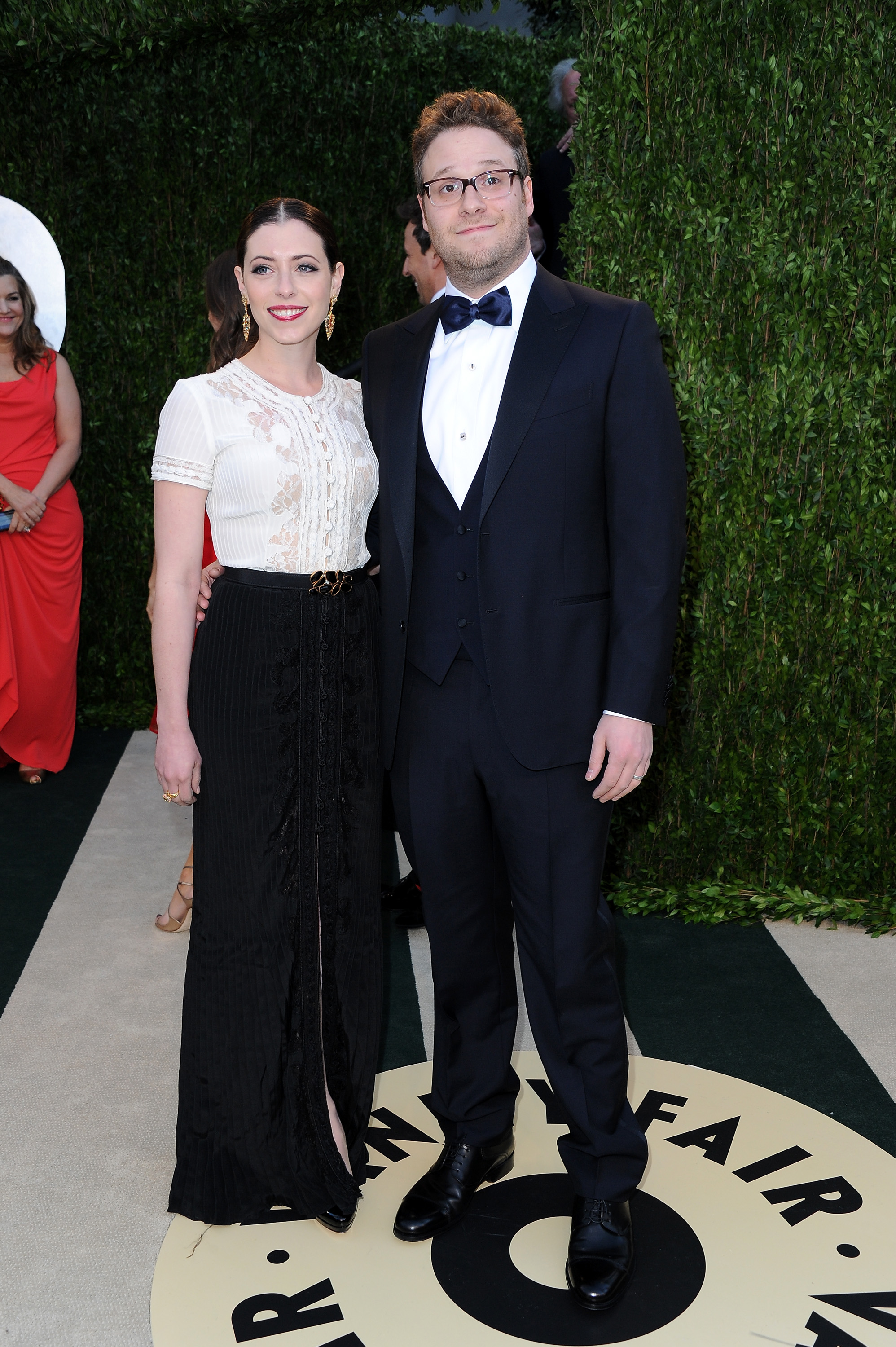Lauren Miller and Seth Rogen arrived at the Vanity Fair Oscar Party on Sunday night.