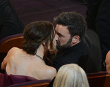 Ben Affleck and Jennifer Garner shared a kiss in their seats at the Oscars.