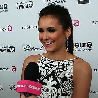 Nina Dobrev Interview at Elton John's Oscar Party (Video)