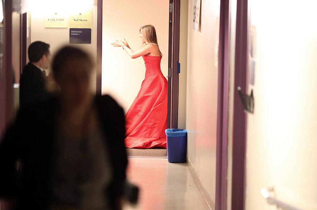 Jennifer Aniston backstage at the Oscars.