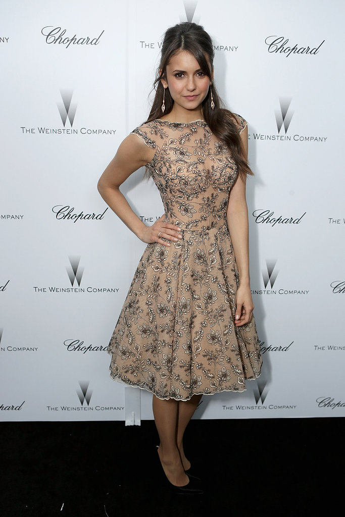 Nina Dobrev attended a Weinstein Company pre-Oscars party.