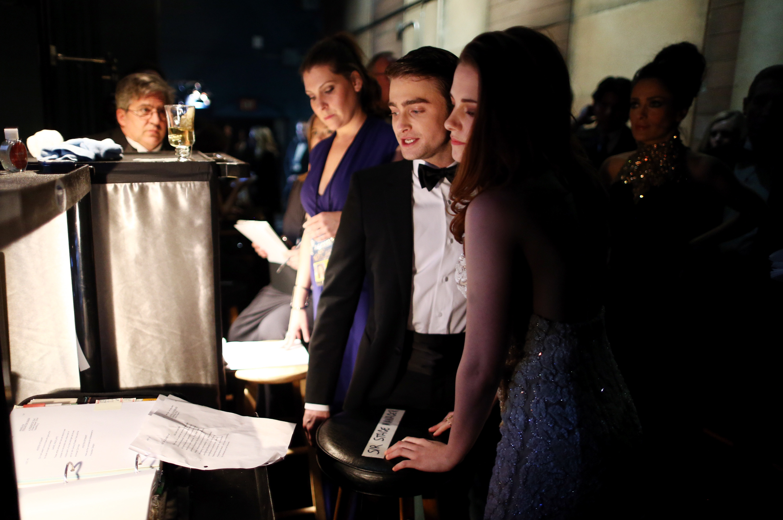 Daniel Radcliffe and Kristen Stewart backstage at the 2013 Oscars.