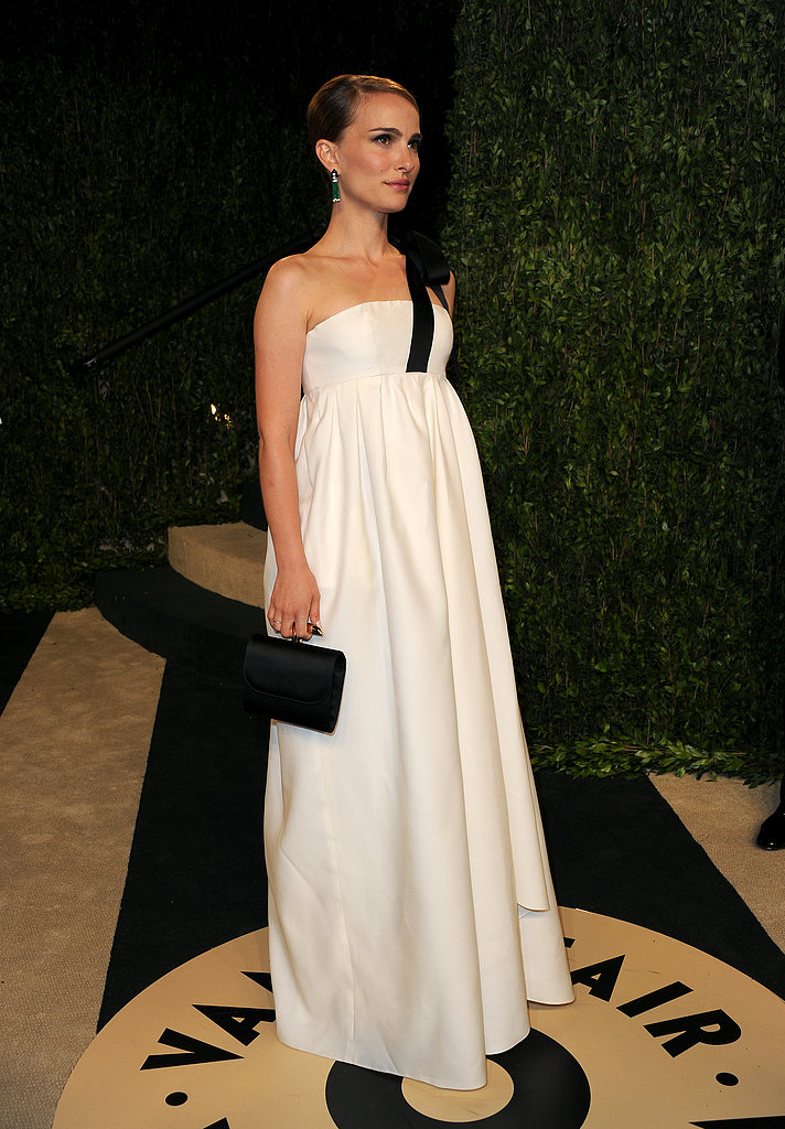 Natalie Portman wore a long white gown to the Vanity Fair party.