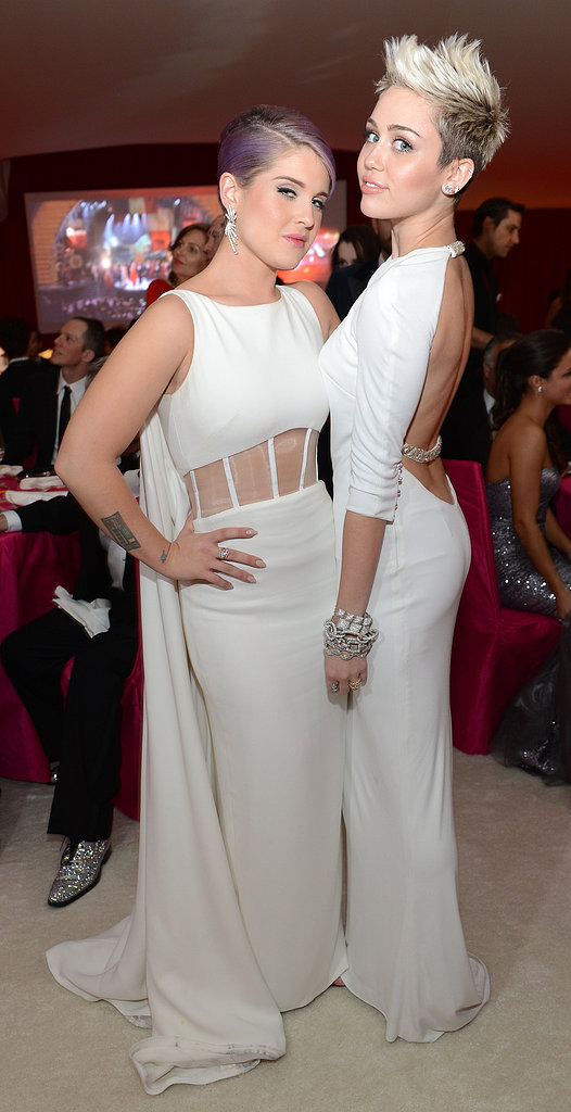 Miley Cyrus and Kelly Osbourne both wore white to Elton John's Oscar party.