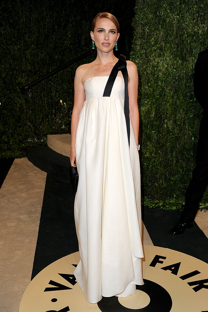 Natalie Portman wore white to the Vanity Fair Oscars bash.