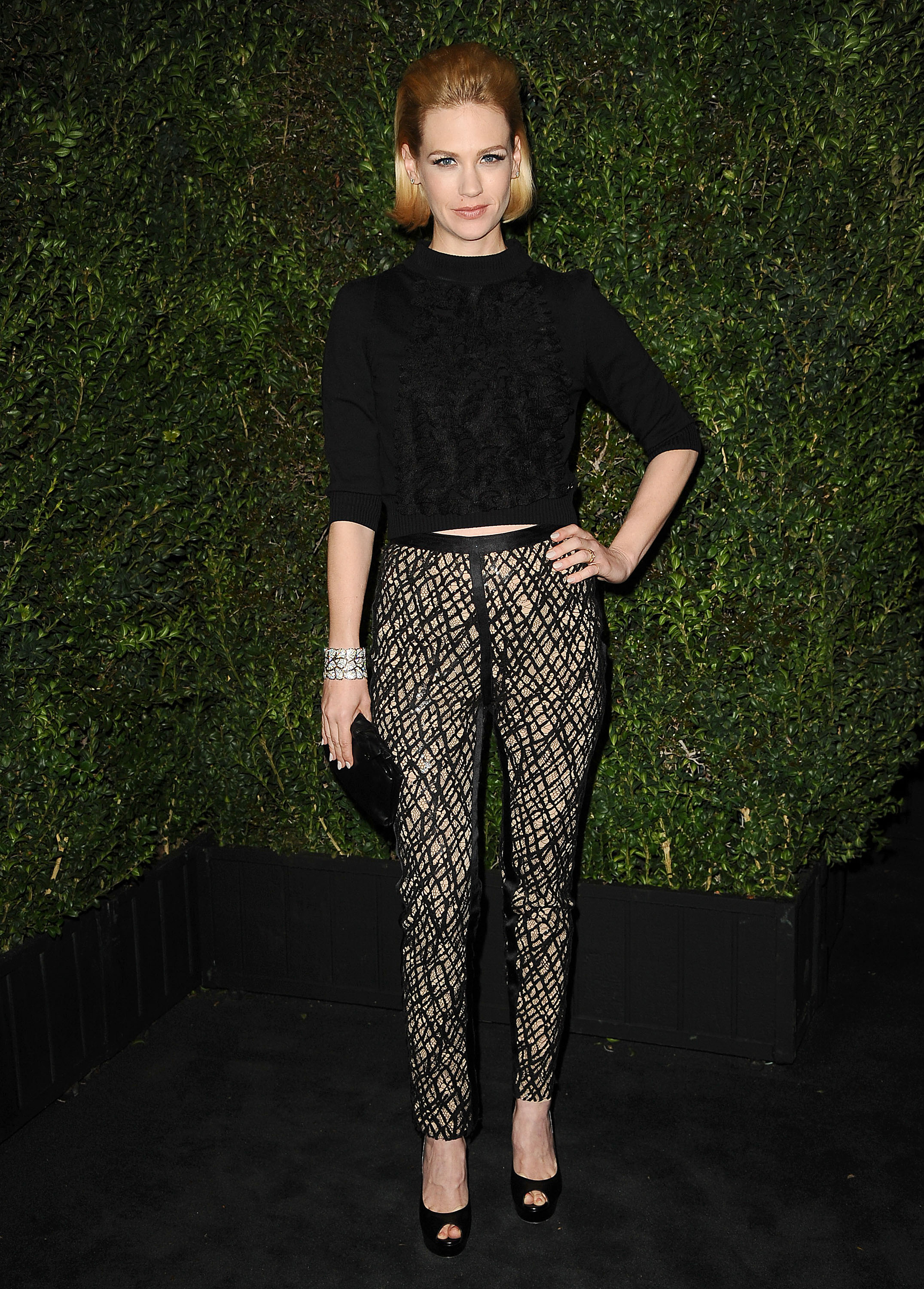 January Jones went retro chic at Chanel's event.