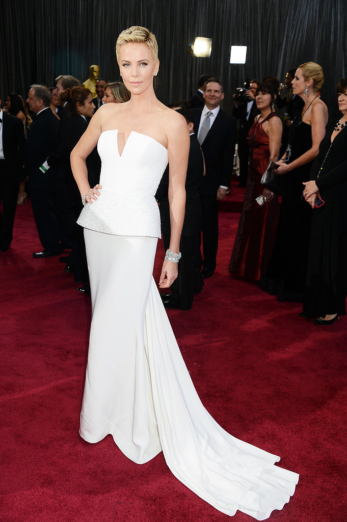 Charlize Theron stunned in a white gown at the Oscars.