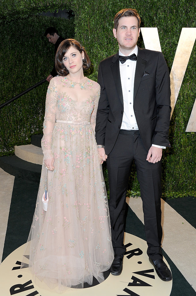 Zooey Deschanel and her boyfriend, Jamie Linden, arrived at the Vanity Fair Oscar party on Sunday night.