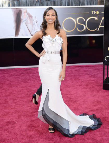 Zoe Saldana Hits the Oscars Carpet in a Dramatic Alexis Mabille Gown
