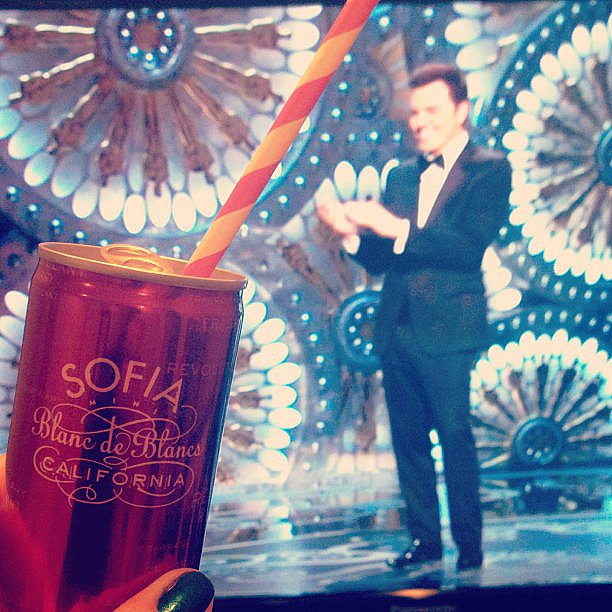 Lauren Conrad sipped champagne from a striped straw while watching the Oscars. Source: Instagram user laurenconrad