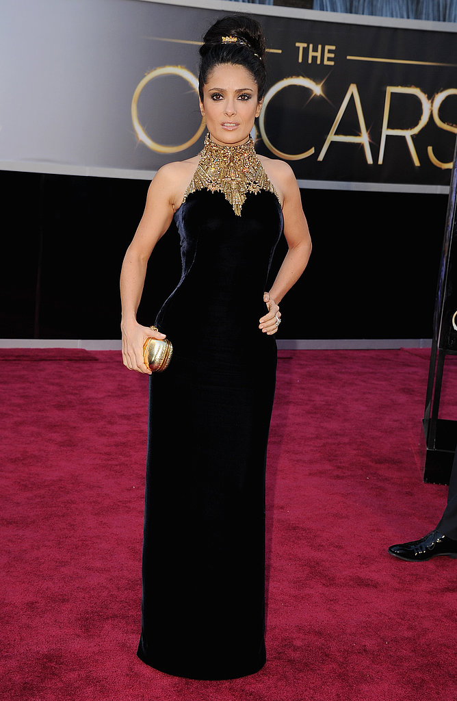 Salma Hayek on the red carpet at the Oscars 2013.