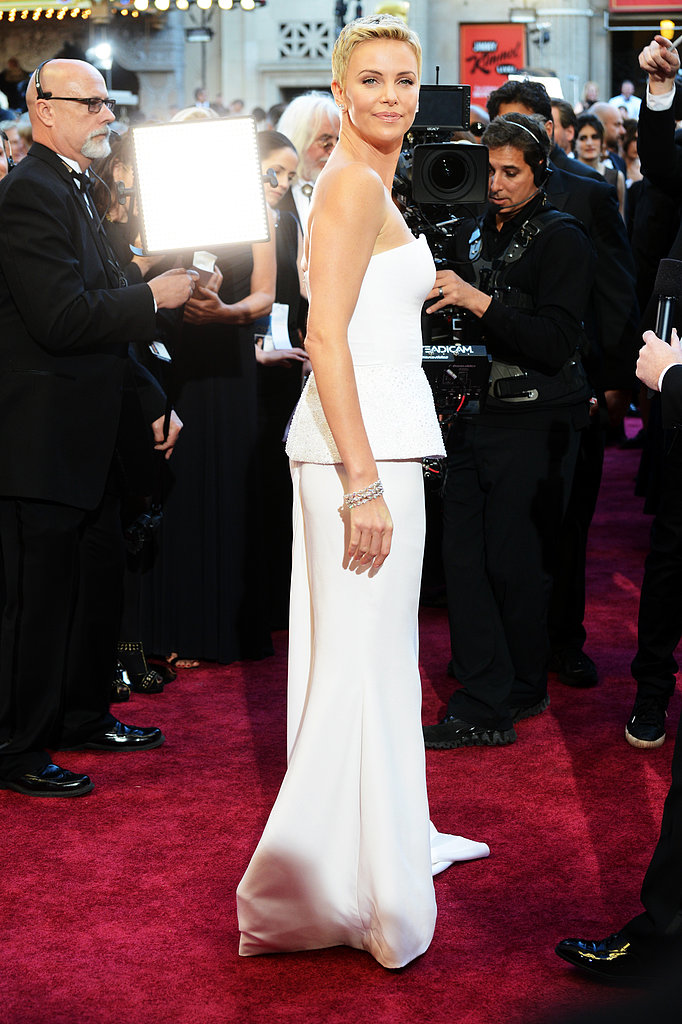 Charlize Theron on the red carpet at the Oscars 2013.