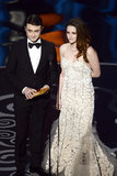 Kristen Stewart and Daniel Radcliffe on stage at the Oscars 2013.