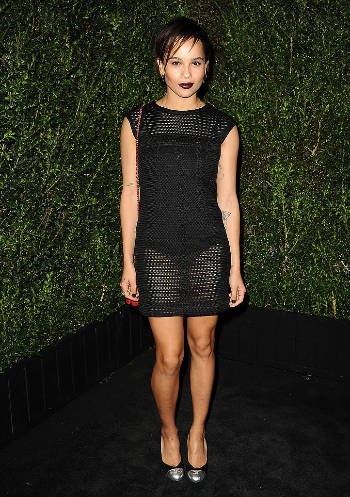 Zoe Kravitz went sheer and sexy in a see-through black Chanel minidress, pairing the revealing LBD with an equally dark lip color.
