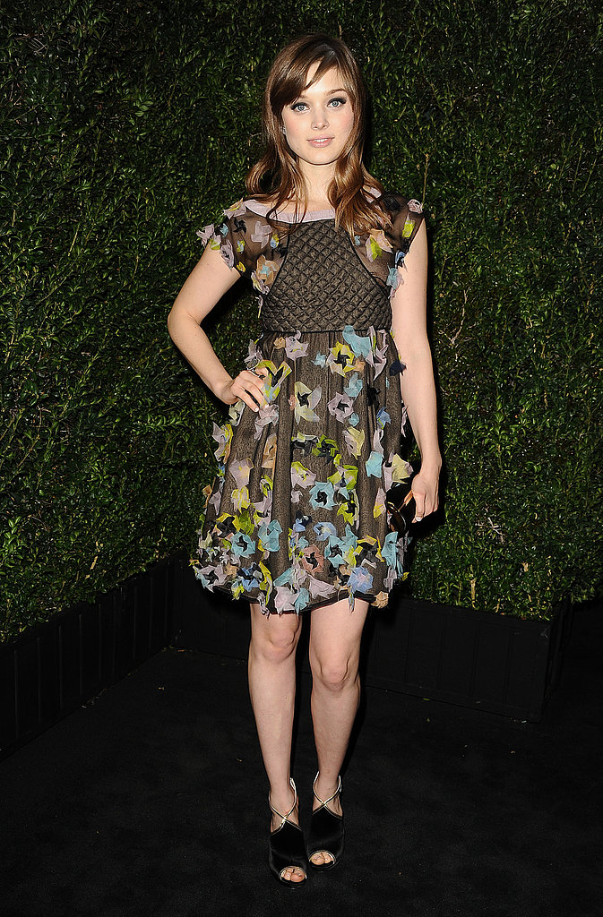 Bella Heathcote chose a floral chiffon dress from Chanel's Spring '13 collection, which proved flirty and feminine, at the label's pre-Oscars dinner.