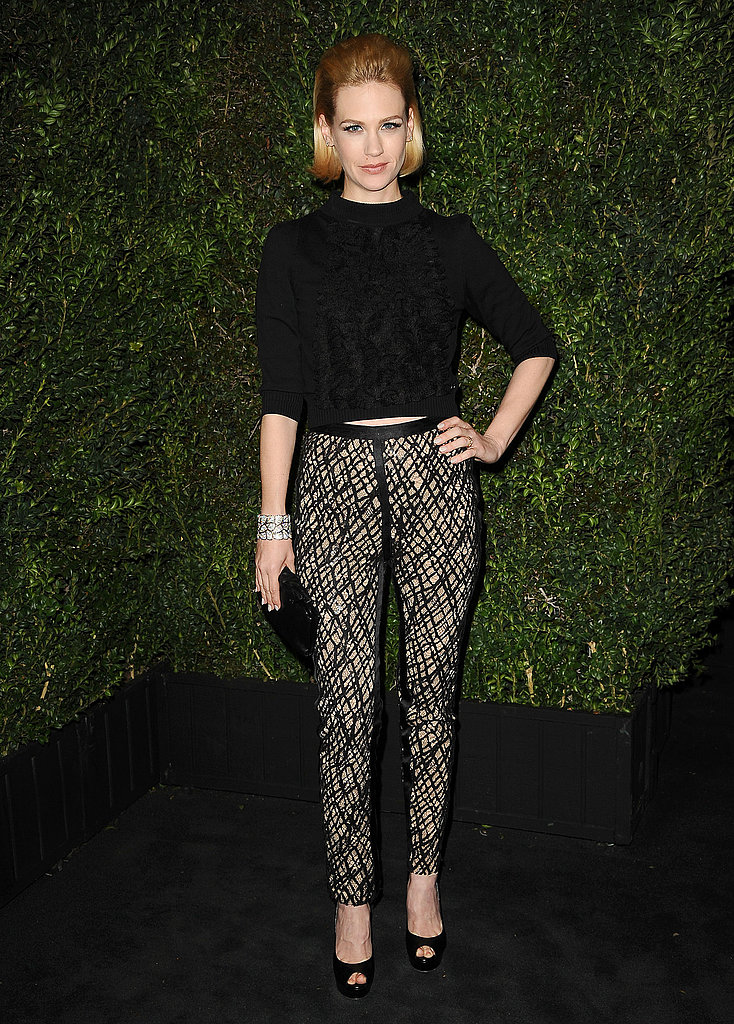 True to her edgier personal style, January Jones donned a black Chanel Resort '13 sweater with black pants from the Fall '12 collection at the Chanel dinner.