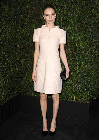 Kate Bosworth stepped out at the Chanel pre-Oscars dinner wearing an ultrastructured pink Chanel dress, and like Chastain's, it's also from the Haute Couture Spring '13 collection.