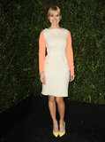 Alice Eve went the brighter route in a colorblocked, long-sleeved dress with equally colorful heels.