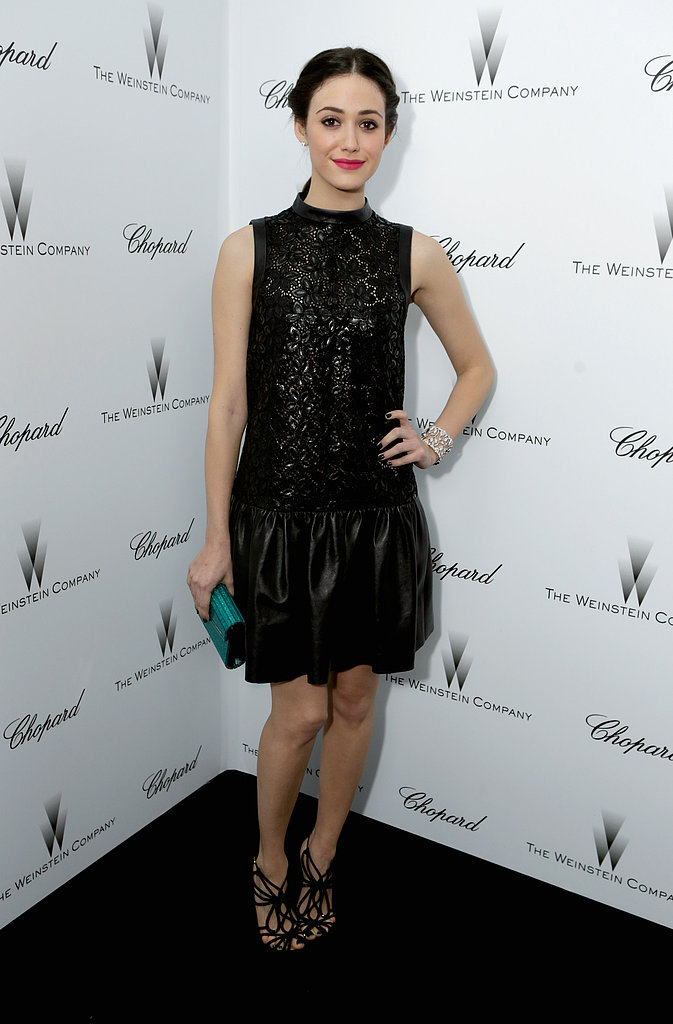 Emmy Rossum also went with black for the Weinstein affair. Hers was a sleeveless black Tibi minidress, which she matched with strappy sandals and a green clutch.