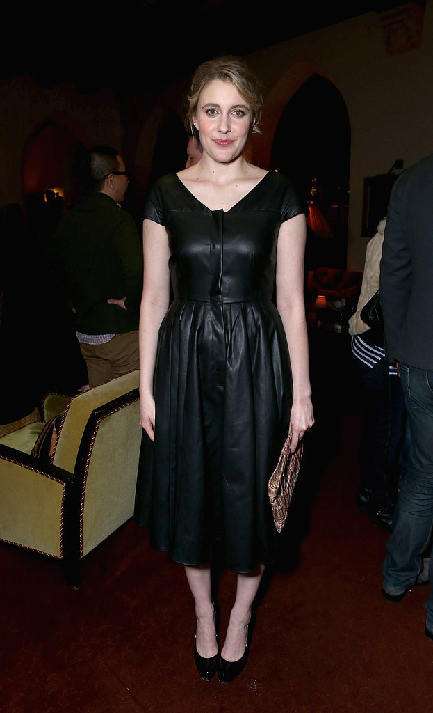 Greta Gerwig was one slick lady in a black leather fit-and-flare dress at the Grey Goose bash.