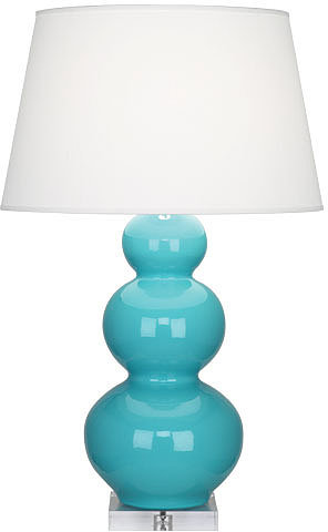Triple Gourd Lucite Table Lamp in Egg Blue - Large -Open Box
