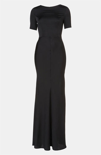 Topshop Fitted Short Sleeve Maxi Dress