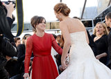 Sally Field greeted Jennifer Lawrence.