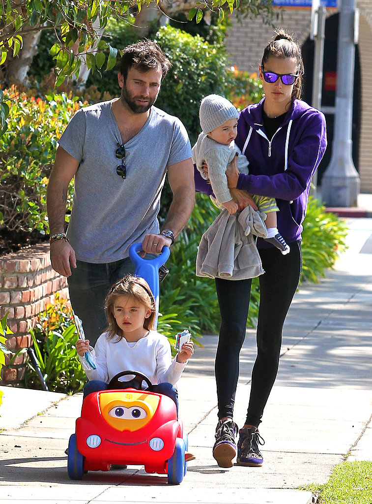 Alessandra Ambrosio and Jamie Mazur took their kids, Anja and Noah, out for a stroll in LA on Monday.