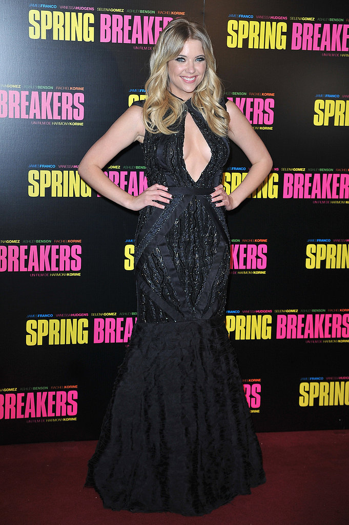 Ashley Benson wore a black mermaid-style gown to the Spring Breakers premiere in Paris on Monday evening.