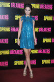 Selena Gomez wore a blue minidress to the Spring Breakers Paris premiere on Monday.