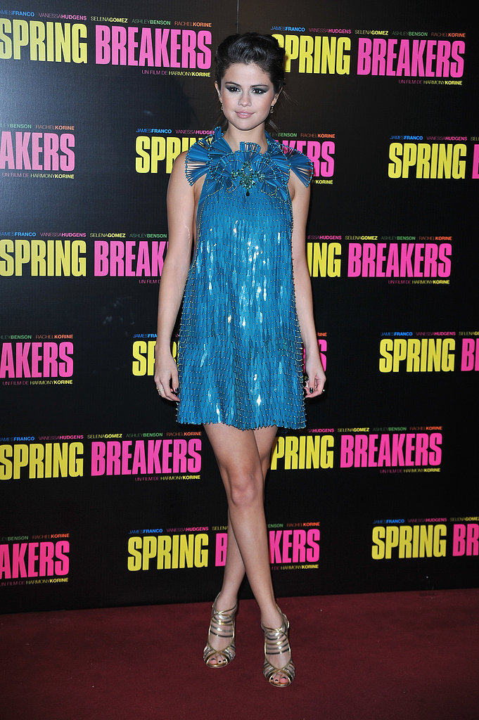 Selena Gomez wore a blue mini-dress to the Spring Breakers Paris premiere.