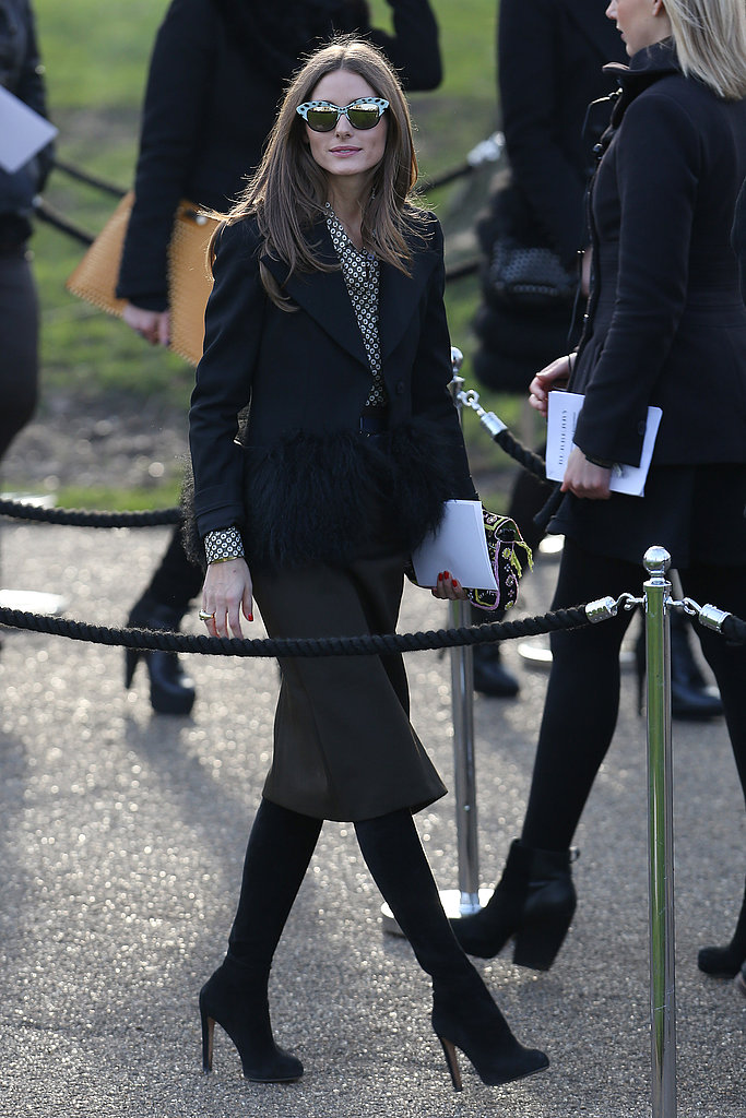 Olivia Palermo made a chic arrival at the Burberry Prorsum Autumn/Winter 2013 fashion show on Monday.
