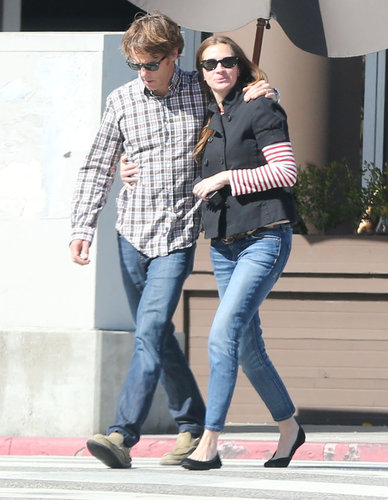 Julia Roberts and Daniel Moder cuddled up during a Santa Monica lunch date in February 2013.