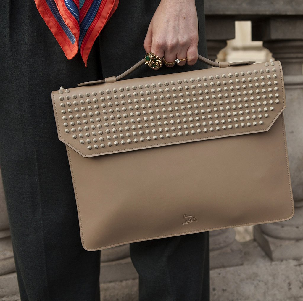 Sharp studding detail added a tough edge to Christian Louboutin's ladylike satchel.