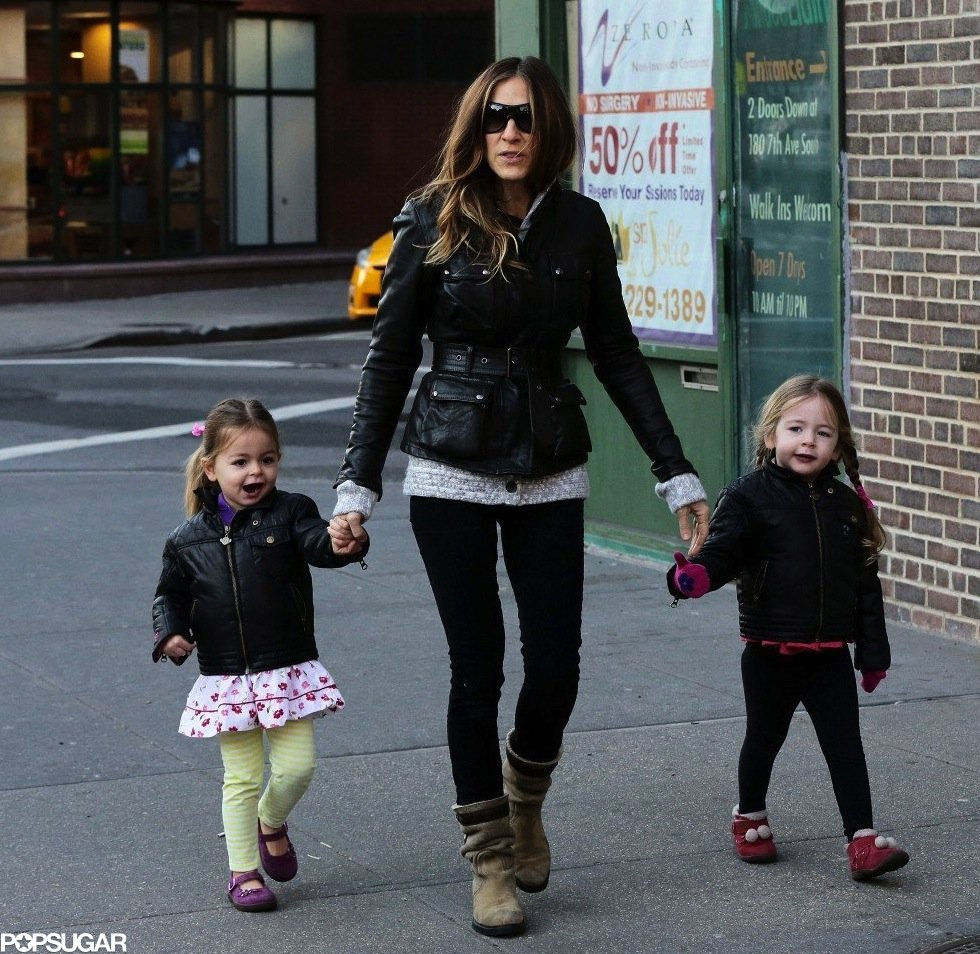 The leather-clad trio took a stroll together in early January. SJP sported a cinched-waist Belstaff jacket, and the 3-year-old twins wore Appaman's Rivington jacket.