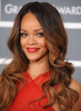 At the 2013 Grammy Awards, Rihanna returned to her brunette hair color but this time with subtle caramel tips. And, of course, her favorite bright red lipstick made an appearance too.