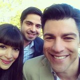Hannah Simone posed with her New Girl costars Max Greenfield and Satya Bhabha. Source: Instagram user therealhannahsimone